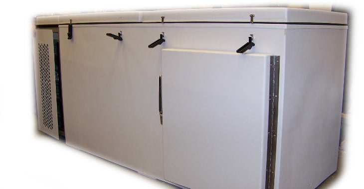 Custom Deck Freezer with front load door for Fast Freeze shelves